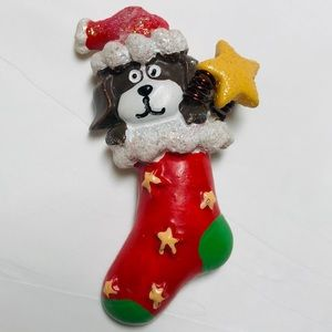 Puppy Dog in Christmas Stocking Pin Brooch Jewelry